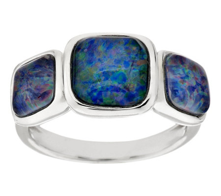 """As Is"" Cushion Cut Opal Triplet 3-Stone Sterling Ring"