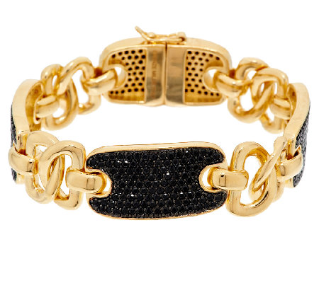 """As Is"" Bronzo Italia Yellow 6.00cttw Black Spinel Status Link Bracelet"