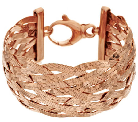 """As Is"" Bronze Solid Braided Herringbone Bracelet by Bronzo Italia"