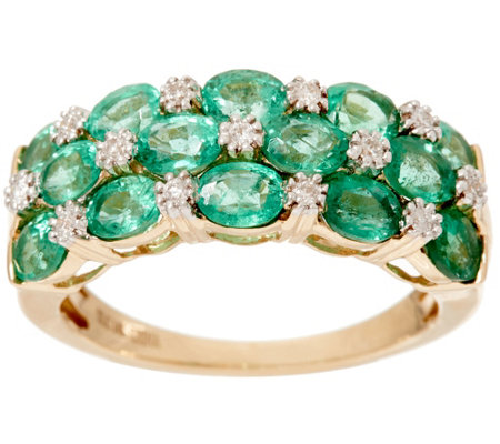 Zambian Emerald & Diamond Accent Wide Band Ring, 14K 1.80 cttw