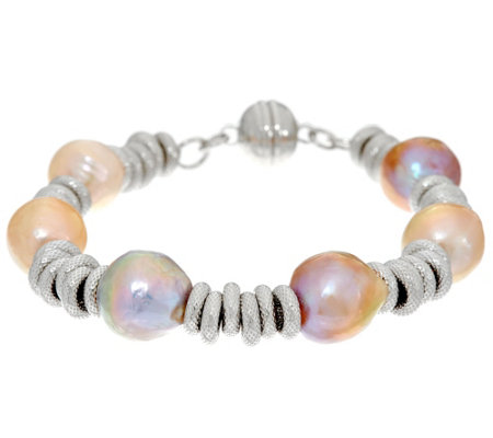 Honora Ming Cultured Pearl Textured Circle Sterling Bracelet