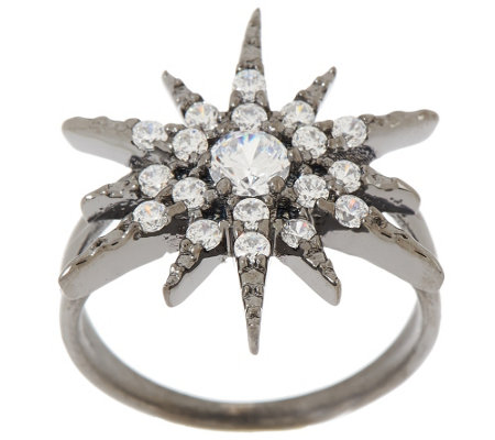 """As Is"" Vicenza Silver Sterling Diamonique Star Design Ring"