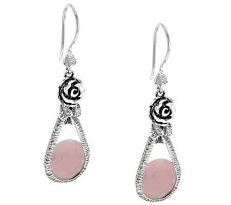 """As Is"" Or Paz Sterling 8.00ct tw Guava Quartz Drop Earrings"