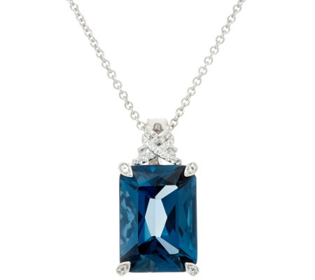 Emerald Cut London Blue Topaz Sterling Enhancer on Chain, 14.00 ct