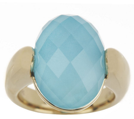 """As Is"" 14K Gold Sleeping Beauty Turquoise Doublet Ring"