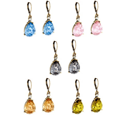Joan Rivers Set/5 Faceted Teardrop Lever Back Earrings