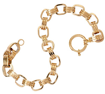 """As Is"" 14K Gold 7-1/4"" Polished Triple Rolo Link Bracelet, 8.2g"