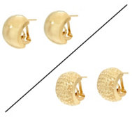 Dieci Omega Back Hoop Earrings 10K Gold