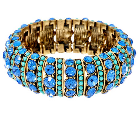 """As Is"" Joan Rivers Crystal & Cabochon Stretch Bracelet"