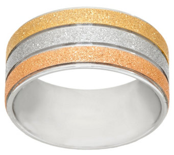 """As Is"" Stainless Steel Tri-Color Glitter Textured Ring - J334562"