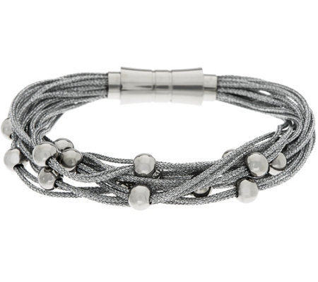 Stainless Steel Multi-Strand Woven Bracelets with Bead Details