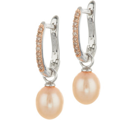 Honora Cultured Pearl & Diamond Sterling Silver Drop Earrings