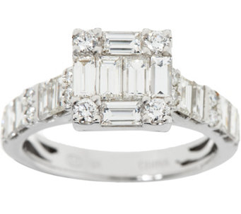baguette white diamond ring 18k gold 170 cttw by affinity j347662 - Qvc Wedding Rings