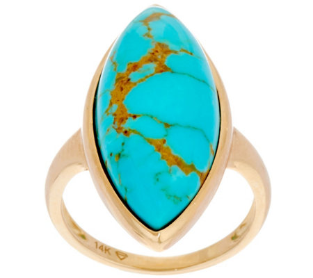 Golden Kingman Turquoise Marquise Ring 14K Gold