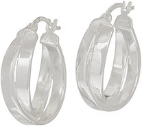 Sterling Silver Polished Crossover Hoop Earrings by Silver Style - J349862