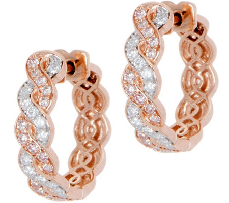 Natural Pink & White Diamond Hoop Earrings 14K, 3/4 cttw by Affinity