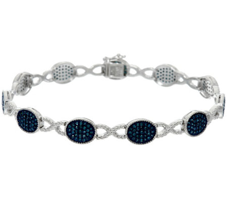"""As Is"" Blue Diamond 8"" Bracelet, Sterling, 1.55 cttw, Affinity"
