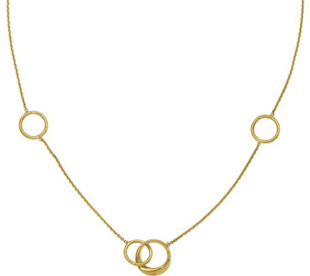 14K Double Round Link Station Polished Necklace, 6.1g