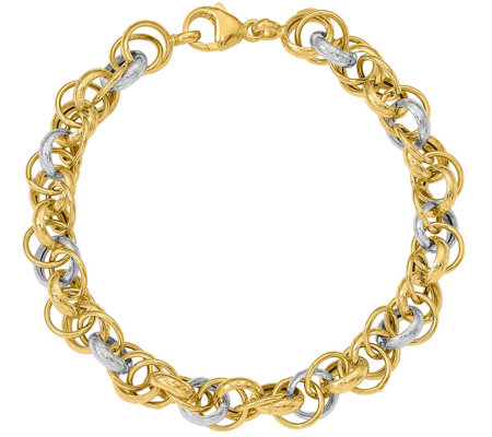 Italian Gold Two-tone Interlocking Rolo Bracelet 14K , 7.5g