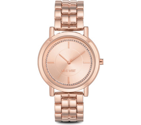 Nine West Ladies Rosetone Ina Bracelet Watch