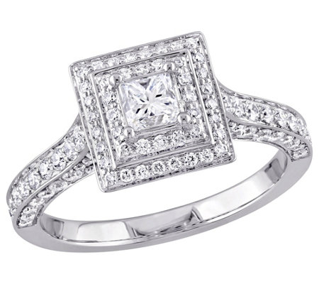 Affinity 14K Gold 1.25 cttw Princess-Cut Diamond Halo Ring