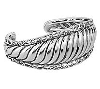 Carolyn Pollack Sterling Ribbed Cuff Bracelet,34.0g - J383162
