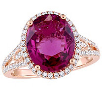 14K Gold 3.55 cttw Pink Tourmaline & 2/3 ct Diamond Halo Ring - J383662