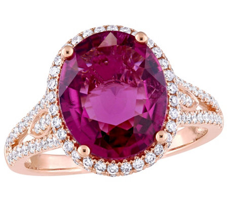14K Gold 3.55 cttw Pink Tourmaline & 2/3 ct Diamond Halo Ring