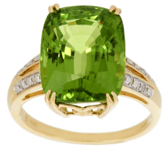 Premier Peridot & Diamond Ring 14K Gold 10.00 ct - J268963