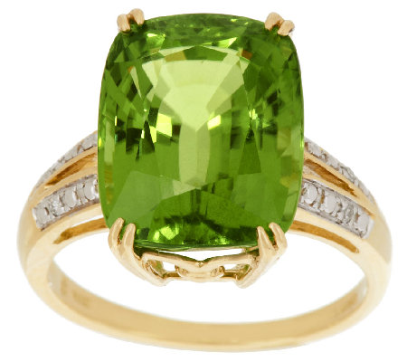 Premier Peridot & Diamond Ring 14K Gold 10.00 ct