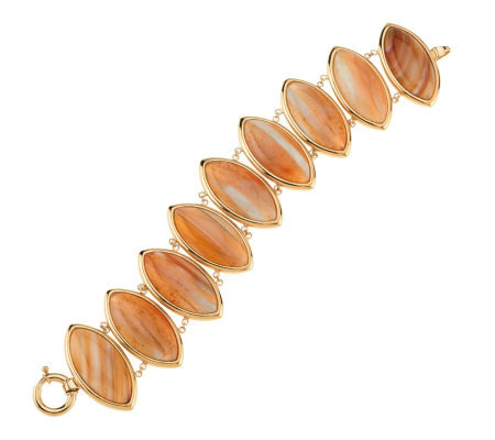 Large Marquise Shaped Brazilian Agate Bracelet 14K Gold