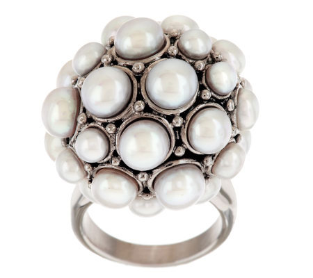 Honora Cultured Freshwater Pearl Stainless Steel Round Cluster Ring
