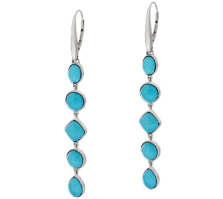 Sleeping Beauty Turquoise Multi-Cut Sterling Silver Drop Earrings