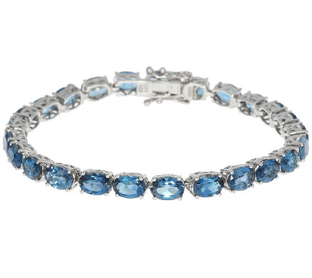 "20.00 ct tw London Blue Topaz Sterling 7-1/4"" Tennis Bracelet"