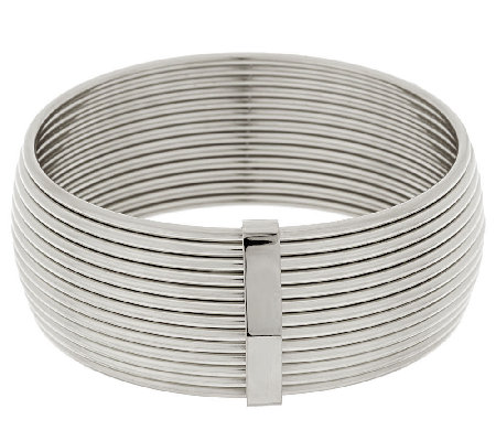 Stainless Steel Polished Bold Ribbed Bangle