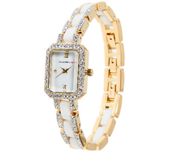 Isaac Mizrahi Live! Ceramic and Crystal Bracelet Watch - J291463