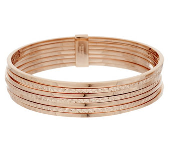 Bronze Set of 7 Polished & Diamond Cut Bangles by Bronzo Italia - J293563