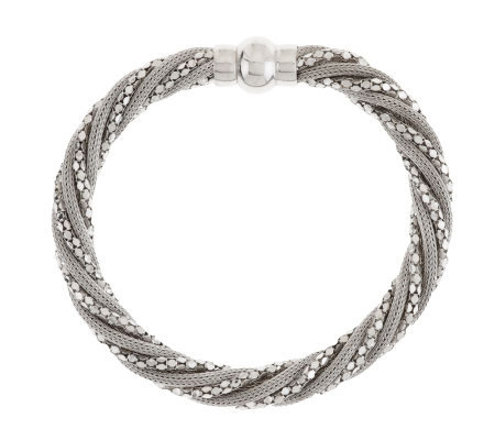 """As Is"" VicenzaSilver Sterling 7-1/4"" Wrapped Mesh Design Bracelet"