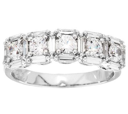 Diamonique 1 80 cttw 5 Stone Band Ring Platinum Clad Page 1
