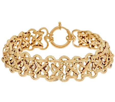 "14K Gold 7-1/4"" Polished 'X' Design Bracelet, 7.3g"
