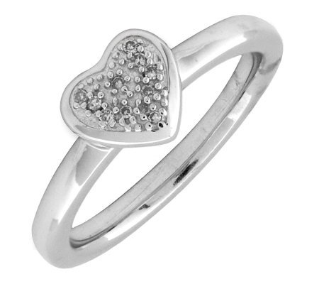 Simply Stacks Sterling & Diamond Heart ClusterRing