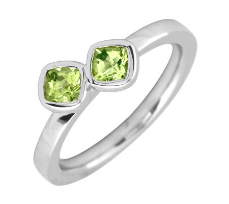 Simply Stacks Sterling & Peridot Double-SquareGemstone Ring