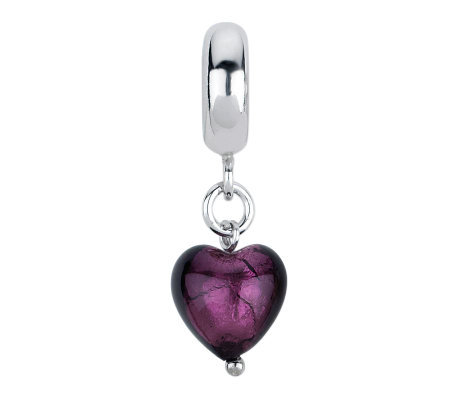 Prerogatives Purple Heart Italian Murano DangleGlass Bead