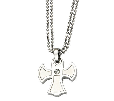"Forza Stainless Steel Cross Pendant w/ 22"" BeadChain"
