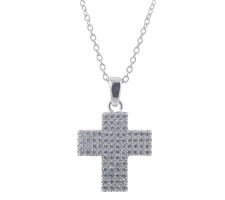 "Diamonique Cross Pendant with 18"" Chain, Platinum Clad"