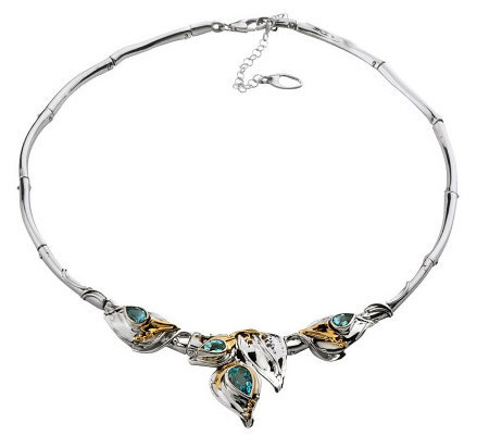 Hagit Gorali Gemstone Leaf Collar, Sterling/14KGold