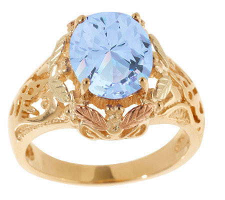 Black Hills Bold Blue Helenite Ring 10K/12K Gold
