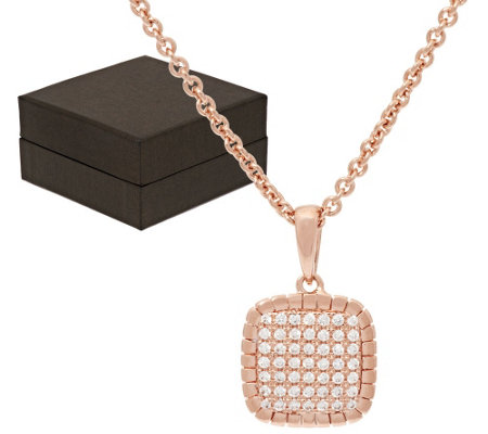 "Bronze Pave' Crystal Cushion Pendant w/18"" Chain by Bronzo Italia"