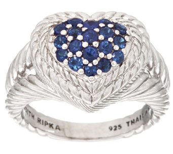 Judith Ripka Sterling Pave' 0.60 ct Sapphire Heart Ring - J318363