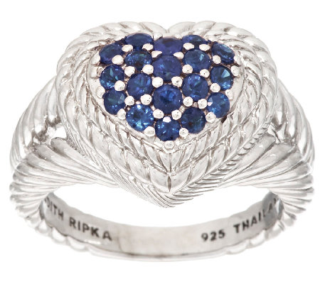 Judith Ripka Sterling Pave' 0.60 ct Sapphire Heart Ring